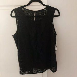 Writhington black lace sleeveless top NWT L